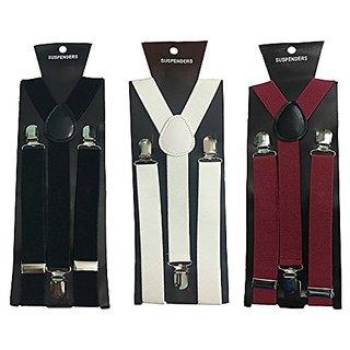 Y- Back Suspenders for Men Black White Maroon Color)