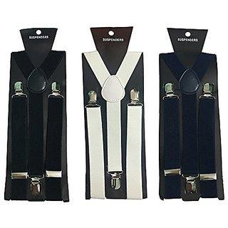 Y- Back Suspenders for Men (Black White Navy Blue Color)