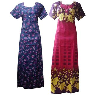Pack of 2 Assorted Colours Cotton Printed Women s Nighty XXL size Nighties  Cotton Nightgown c3f02d2d2