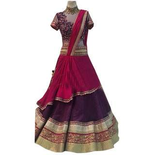Surat Tex Purple  Red Color Party Wear Semi-Stitched Embroidered Banglori Silk Lehenga Choli With Heavy Designer Mono N