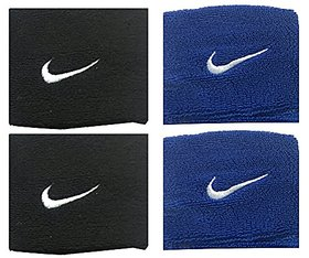 Sports Wrist Band Supporter Sweat Band (Black and Blue )- 1 Pair Each