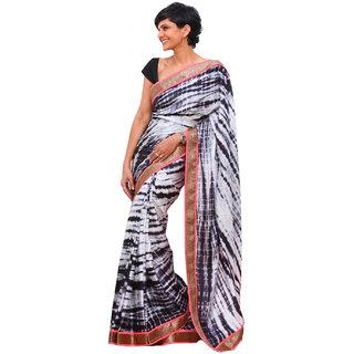 SuratTex Black & White Georgette Plain Saree With Blouse