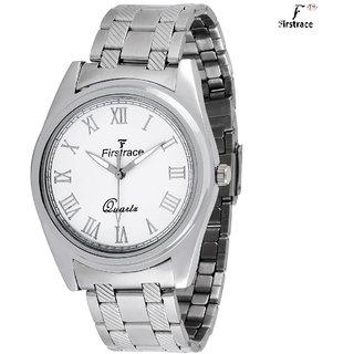 Firstrace Round Dial Silver Metal Strap Men'S Quartz Watch