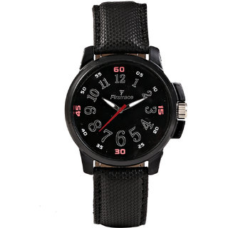Firstrace Round Dial Black Leather Strap Men'S Quartz Watch
