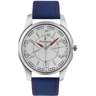 Firstrace Round Dial Blue Leather Strap Men'S Quartz Watch