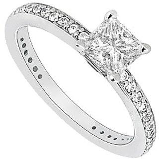 LoveBrightJewelry Elegant 14K White Gold Cubic Zirconia Engagement Ring