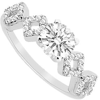 LoveBrightJewelry Ritzy 14K White Gold Cubic Zirconia Engagement Ring