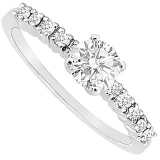 LoveBrightJewelry Classy 14K White Gold Cubic Zirconia Engagement Ring