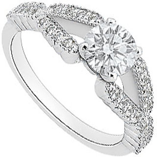 LoveBrightJewelry Gorgeous 14K White Gold Cubic Zirconia Engagement Ring