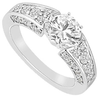 LoveBrightJewelry In Vogue 14K White Gold Cubic Zirconia Engagement Ring