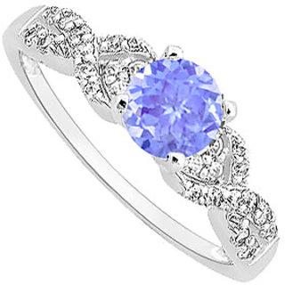 Tanzanite & CZ Engagement Ring With Wedding Band Set 14K White Gold
