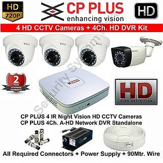 Tubros CP PLUS 4 HD CCTV Cameras and 4Ch. HD DVR Kit with all Accessories
