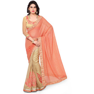 Melluha Orange Georgette Self Design Saree With Blouse