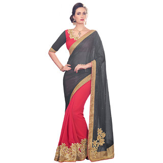 Melluha Black Chiffon Self Design Saree With Blouse