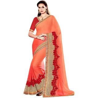 Melluha Orange Chiffon Self Design Saree With Blouse