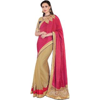 Melluha Pink Silk Self Design Saree With Blouse