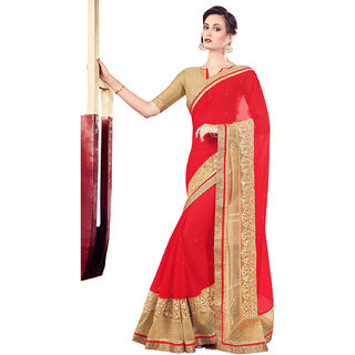 Melluha Red Chiffon Self Design Saree With Blouse