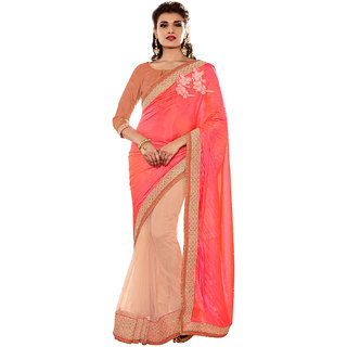 Melluha Orange Silk Self Design Saree With Blouse