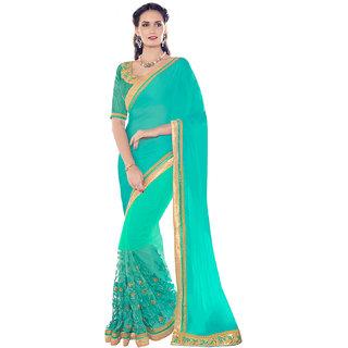 Melluha Blue Chiffon Self Design Saree With Blouse
