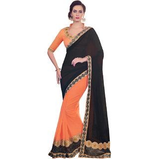 Melluha Black Chiffon Self Design Saree With Blouse