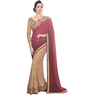 Melluha Maroon Silk Self Design Saree With Blouse