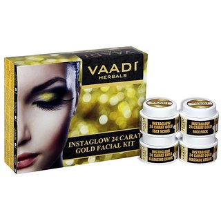 Vaadi herbals Gold Facial Kit - 24 Carat Gold Leaves, Marigold  Wheatgerm Oil, Lemon Peel Extract