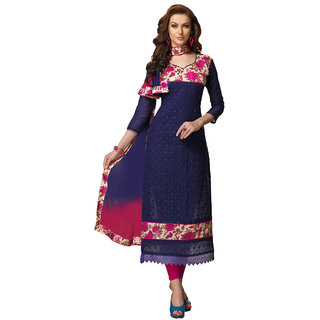 Trendz Apparels Blue Chanderi Bhagalpuri  Embroidered Dress Material (Unstitched)