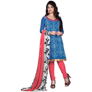Trendz Apparels Blue Chanderi Cotton Silk Embroidered Dress Material (Unstitched)