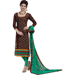 Trendz Apparels Brown Chanderi Embroidered Dress Material