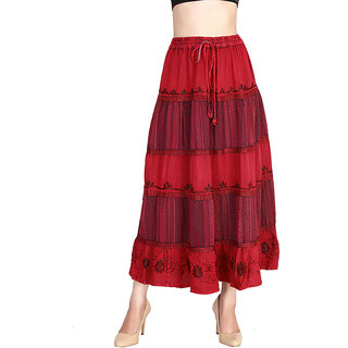 Vaio Fashion Flared Red Printed Women'S Skirt