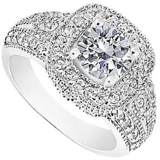 LoveBrightJewelry Diamond Engagement Ring In Milgrain 14K White Gold
