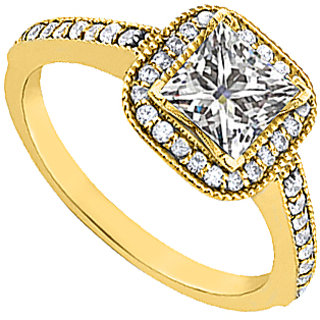 LoveBrightJewelry CZ Cubic Zirconia Engagement Ring In 14K Yellow Gold