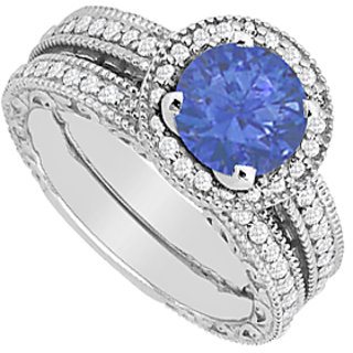 Diamond & Sapphire Engagement Ring With Wedding Band Sets In 14K White Gold