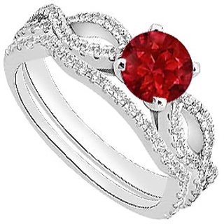Diamond & Natural Ruby Engagement Ring With Diamond Band In 14K White Gold
