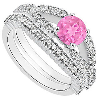 Diamond Wedding Band With Pink Sapphire Engagement Ring In 14K White Gold