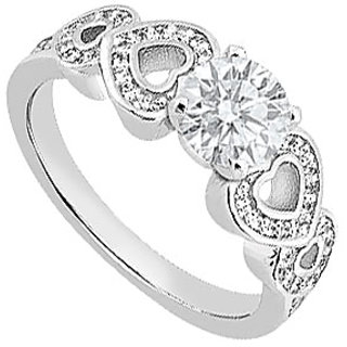 LoveBrightJewelry Slick Diamond Engagement Ring With Side Heart In 14K White Gold