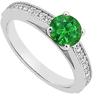 Delightful Diamond & Natural Green Emerald Engagement Ring In 14K White Gold