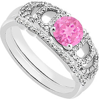 Delightful Diamond Pink Sapphire Engagement Ring With Diamond Band In 14K White Gold