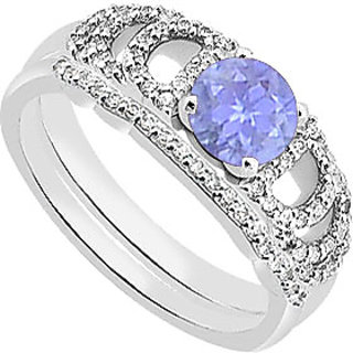 Gorgeous Diamond Tanzanite Engagement Ring With Diamond Band Sets In 14K White Gold
