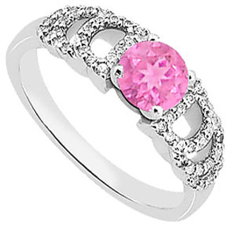 Groovy Engagement Ring Of Pink Sapphire & Diamond In 14K White Gold Ring