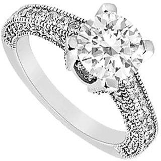 LoveBrightJewelry Engagement Ring Of CZ In Milgrain 14K White Gold