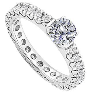 LoveBrightJewelry Diamond Eternity Engagement Ring In 14K White Gold