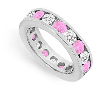 CZ Eternity Band With Pink Sapphire 3 Carat Channel Set In 925 Sterling Silver