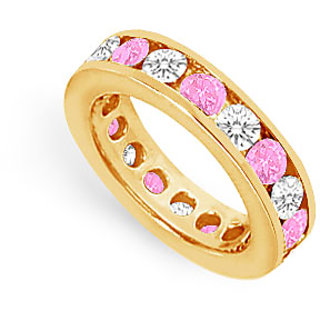CZ Eternity Band With Pink Sapphire 3 Carat Channel Set In 18K Yellow Gold Vermeil