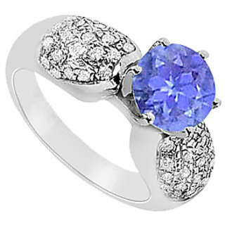 December Birthstone Tanzanite & CZ Cluster Engagement Ring 14K White Gold