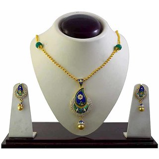 American Diamond studed meenakari necklace set-55