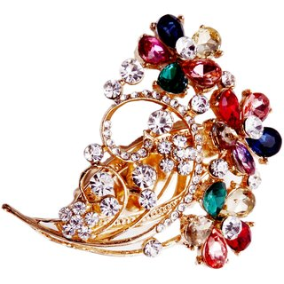 Mansiyaorange Multicolor Alloy Gold Plated Brooches For Women