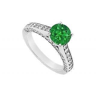 Modernistic May Birthstone Emerald & CZ Engagement Ring In 14K White Gold