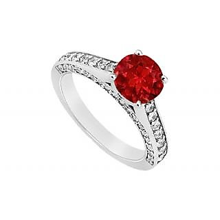 LoveBrightJewelry Dapper July Birthstone Ruby & CZ Engagement Ring In 14K White Gold