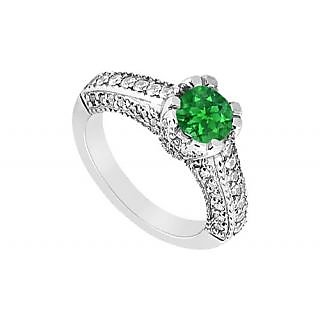 May Birthstone Emerald Engagement Ring With Split Prong Milgrain 14K White Gold